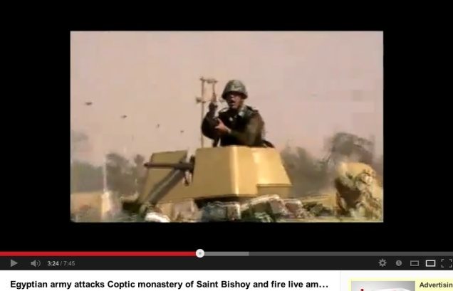 Egyptian military were filmed leading an attack on the Bishoi monastery in February 2011, which destroyed a protected outer wall.