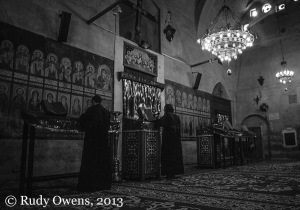 Inside Bishoi Monastery, one of the oldest Coptic monasteries in Egypt 2004)