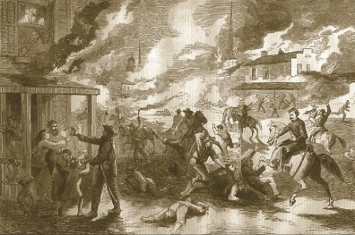 The magazine Harper's printed an illustration of the 1863 raid by Southern bushwhackers of Lawrence, Kan, which killed 180 people.