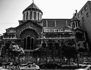 A long-abandonned Armenian church can be seen in the Karkoy neighborhood of Istanbul, Turkey, on one of the busiest streets of the largest city in the country.