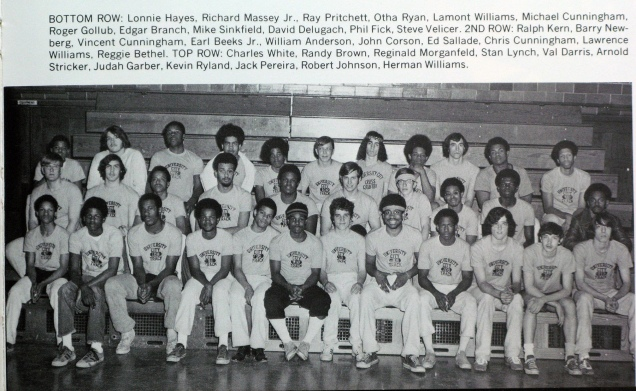 That tiny little guy you see in the front row, in the middle, is team captain Roger Gollub (University City Senior High School Track Team, 1973).