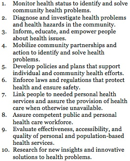 The 10 essential public health services is the U.S. model, not a global model, for defining the profession.
