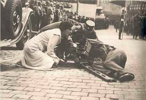 Nazi filmmaker Leni Riefenstahl at work with the Nazis during the making of Triumph of the WIll.