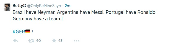 This Tweet was widely re-Tweeted after Germany crushed Brazil 7-1.