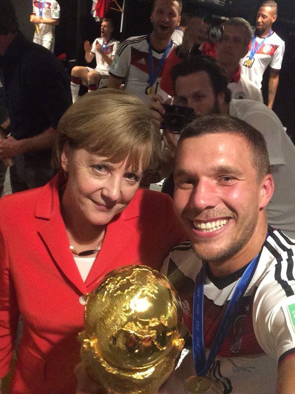 Podolski tweeted this selfie of him and the German leader right after the game, in a Tweet seen 'round the world.