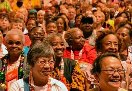 The Las Vegas Review Journal covered an AARP convention, showing a crowd of older American--millions will be impacted by dementia and possibly Alzheimer's disease.