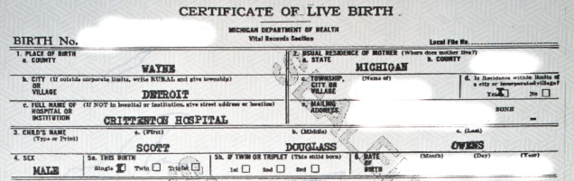 This is part of my original record of birth, which the state of Michigan considered a top secret document that had to be kept from me at all cost for decades, even after I knew my birth name and birth families.