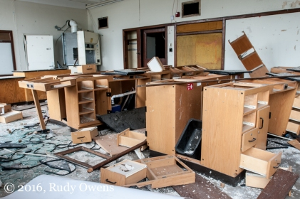 This newly updated sicence lab was left to the scrappers and criminals who have completely destroyed the school without any interference from the Detroit Public Schools.