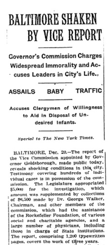 The New York Times covered the findings of the investigation of the horrific conditions that killed nearly four in five relinquished infants in Baltimore, in 1914.